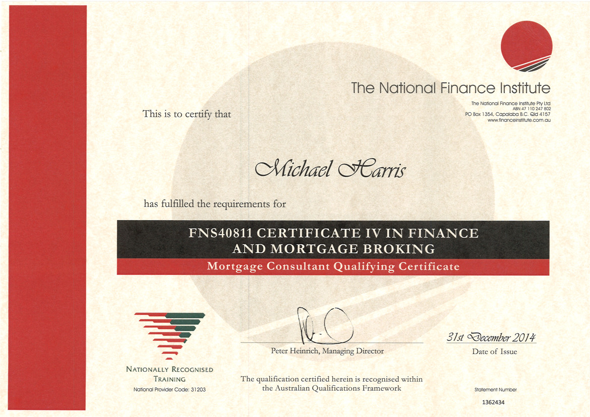 Cert IV Finance & Mortgage Broking