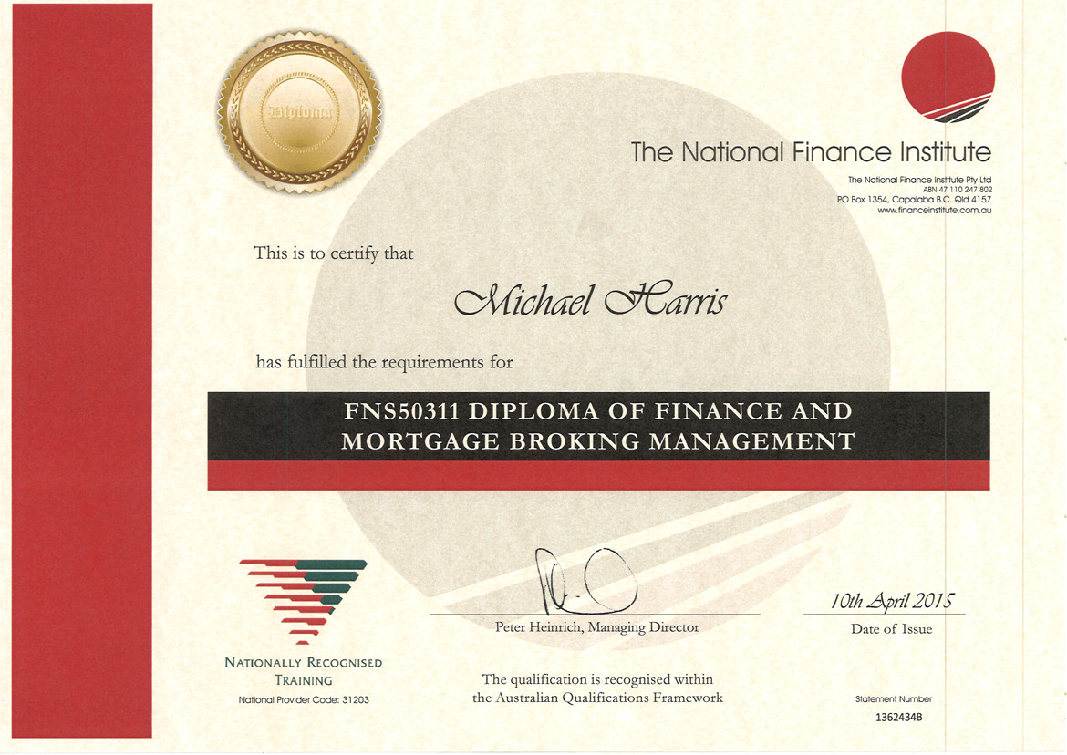 Diploma of Finance & Mortgage Broking Management