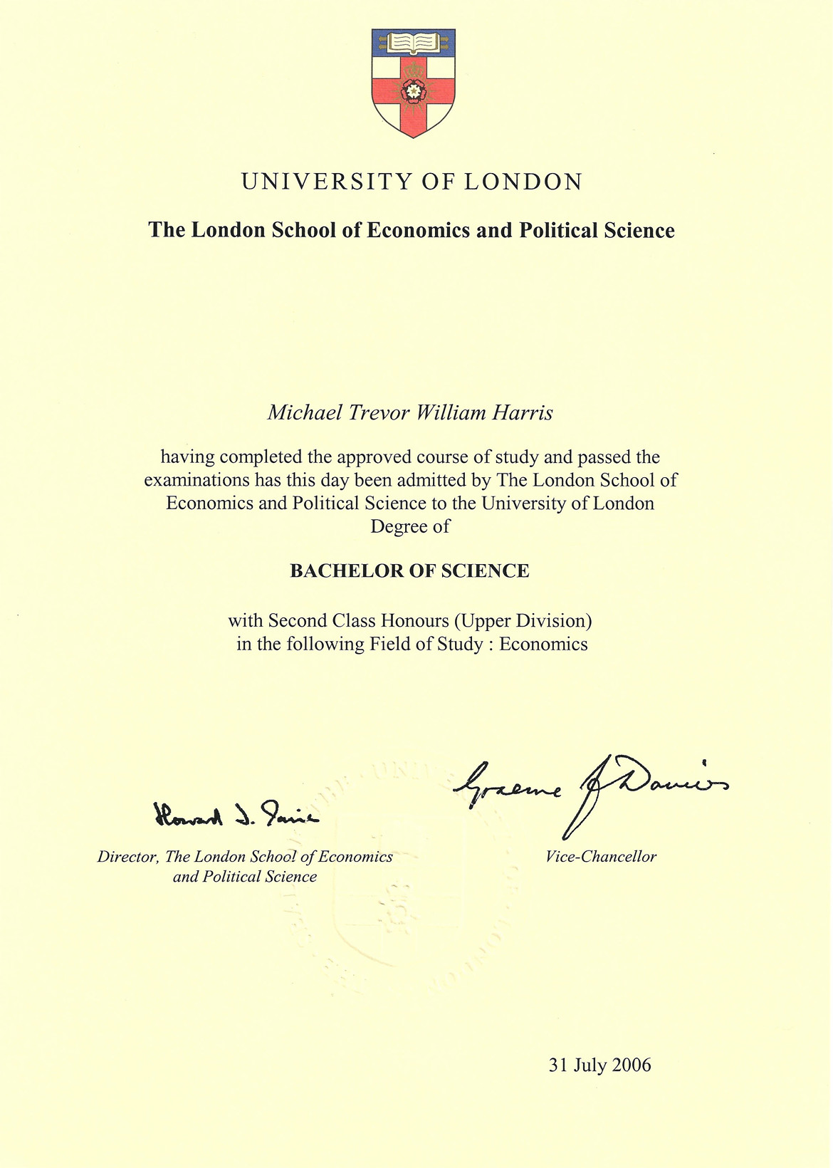 Economics Degree Certificate