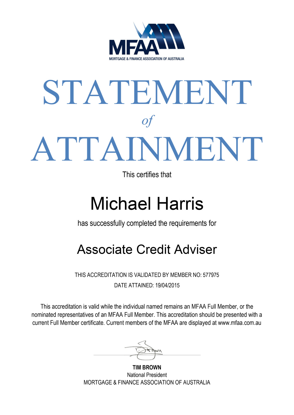 MFAA Statement of Attainment Certificate